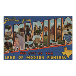 Amarillo, Texas - Large Letter Scenes Posters