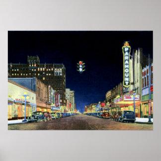 Amarillo Texas Polk Street Night View 1940 Poster