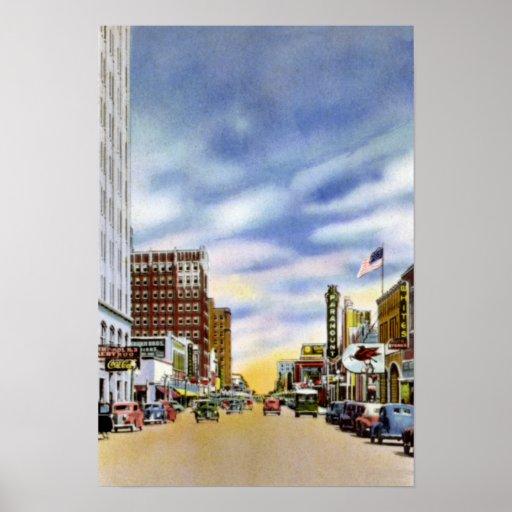 Amarillo Texas Polk Street Town View Poster
