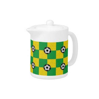Amarillo verde a cuadros con los balones de fútbol