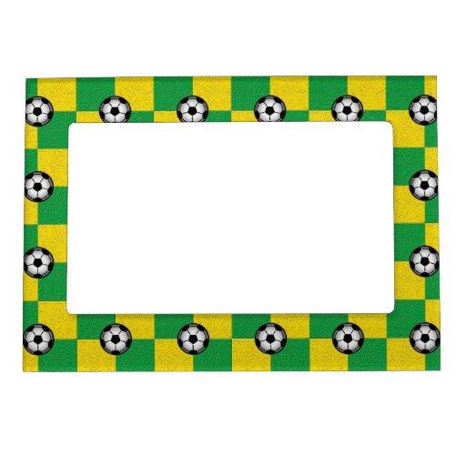 Amarillo verde a cuadros con los balones de fútbol marcos magneticos para fotos