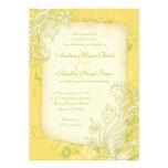 Amarillo, verde e invitación floral de marfil del