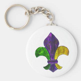 Amarillo verde púrpura de la flor de lis del carna llaveros personalizados