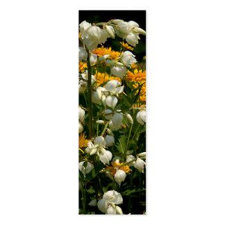 Amarillo y blanco florecidos - marcador de libro tarjetas de visita mini
