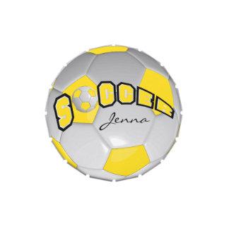 Amarillo y blanco personalice el balón de fútbol jarrones de caramelos