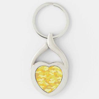 Amarillo y diseño de Camo del oro Llavero Plateado En Forma De Corazón