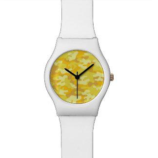 Amarillo y diseño de Camo del oro Reloj