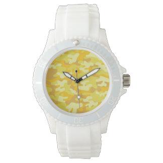 Amarillo y diseño de Camo del oro Relojes
