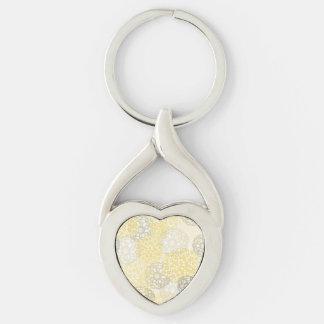 Amarillo y diseño de la explosión de la flor de la llavero plateado en forma de corazón