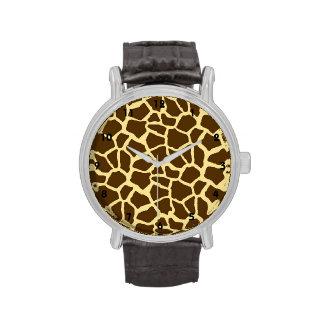 Amarillo y estampado de animales de la jirafa de B Reloj