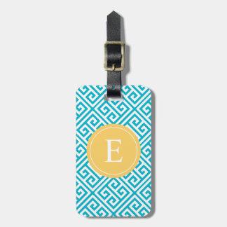 Amarillo y etiqueta griega del equipaje de la