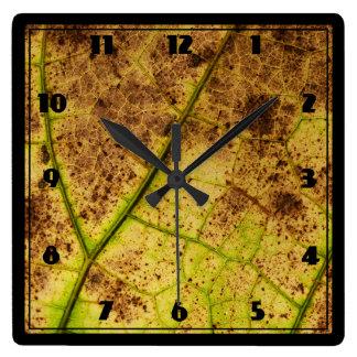 Amarillo y hoja macra de muerte de Brown Reloj Cuadrado