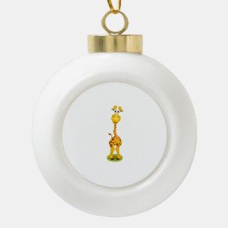 Amarillo y jirafa feliz anaranjada del dibujo adorno de cerámica en forma de bola
