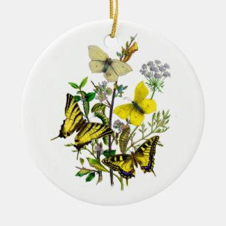 Amarillo y mariposas de Swallowtail Adorno Navideño Redondo De Cerámica