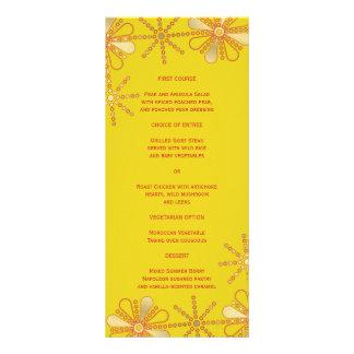 Amarillo y menú delgado inspirado indio de la cena tarjeta publicitaria personalizada