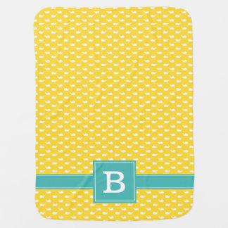 Amarillo y monograma caprichoso del modelo de las  mantas de bebé