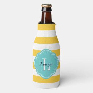 Amarillo y monograma de muy buen gusto de las enfriador de botellas