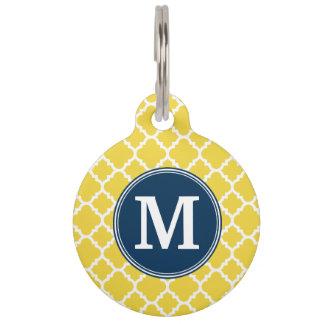 Amarillo y monograma del personalizado del modelo identificador para mascotas