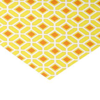 Amarillo y naranja del modelo de mosaico papel de seda pequeño