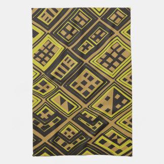 Amarillo y negro - arte africano abstracto toalla de cocina