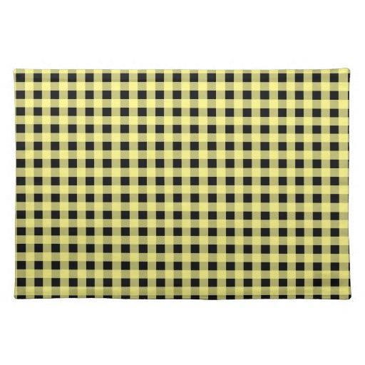 Amarillo y negro de la guinga manteles individuales