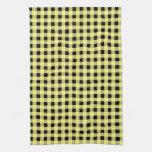 Amarillo y negro de la guinga toallas de cocina