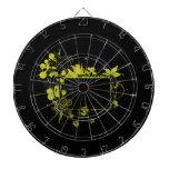 Amarillo y negro del marco de la palmera tablero dardos