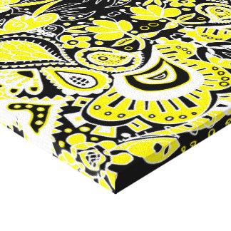 Amarillo y negro locos del caleidoscopio de Paisle Impresión En Lona Estirada