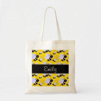 Amarillo y negro manosee la abeja bolsa tela barata