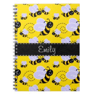 Amarillo y negro manosee la abeja libreta