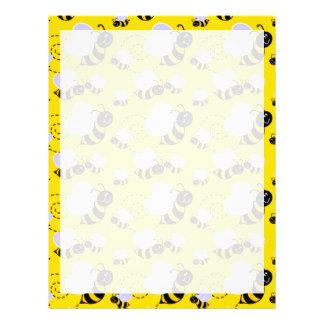 Amarillo y negro manosee la abeja membrete