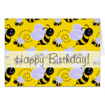 Amarillo y negro manosee la abeja tarjeta
