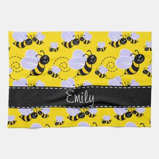 Amarillo y negro manosee la abeja toalla de mano