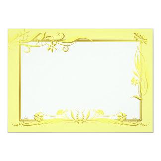 """Amarillo y ornamento floral del oro invitación 5"""" x 7"""""""