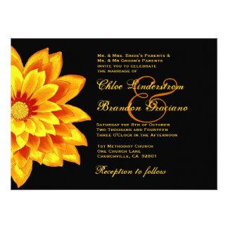 Amarillo y plantilla del boda de la margarita del comunicado personal