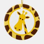 Amarillo y puntos de la jirafa de Brown y cabeza d Adorno De Reyes