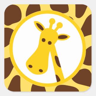 Amarillo y puntos de la jirafa de Brown y cabeza Pegatina Cuadrada