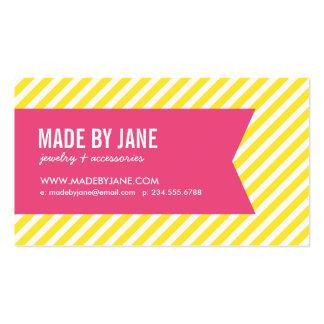 Amarillo y rayas y cinta modernas de las rosas tarjetas de visita