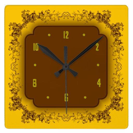 Amarillo y reloj de pared de lujo de Brown