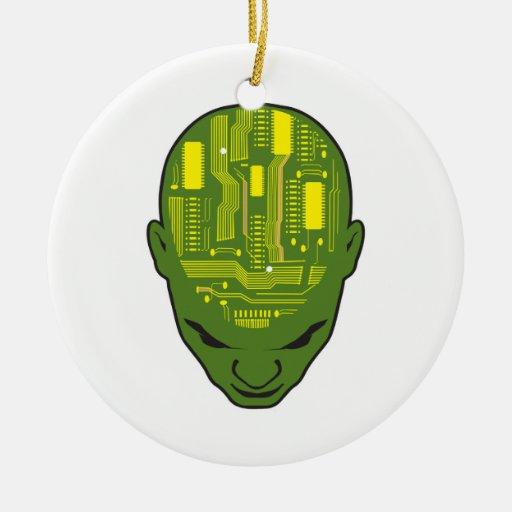 amarillo y verde de la cabeza del cerebro de la adorno navideño redondo de cerámica