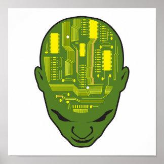 amarillo y verde de la cabeza del cerebro de la pl posters