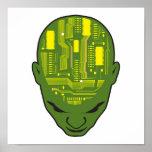 amarillo y verde de la cabeza del cerebro de la pl póster