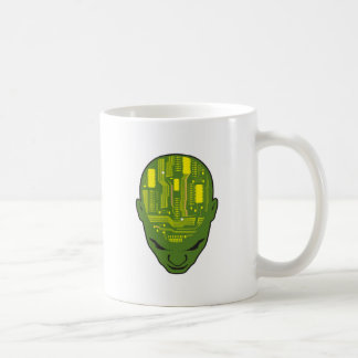 amarillo y verde de la cabeza del cerebro de la pl taza