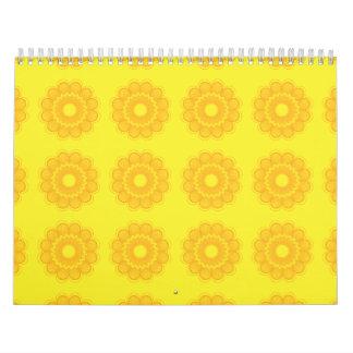 Amarillos del estampado de plores calendario