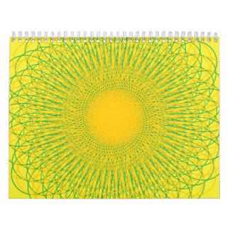 Amarillos enérgicos de las curvas calendarios de pared