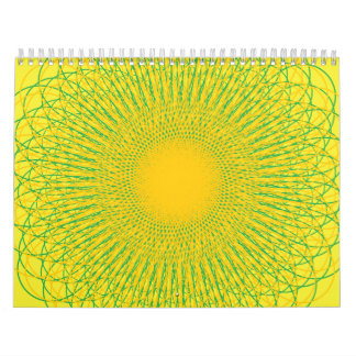 Amarillos enérgicos de las curvas calendario de pared