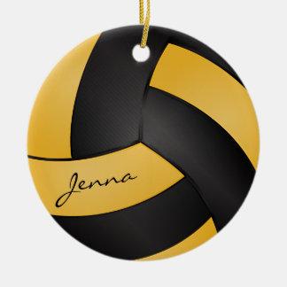 Amarillos y negros de oro personalizan voleibol adorno navideño redondo de cerámica