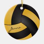 Amarillos y negros de oro personalizan voleibol ornamento de reyes magos
