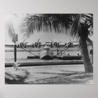Amarre de las podadoras de China en la isla hawaia Póster