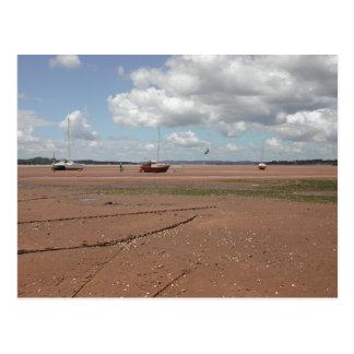 Amarres de marea. Barcos varados. Devon Reino Postales